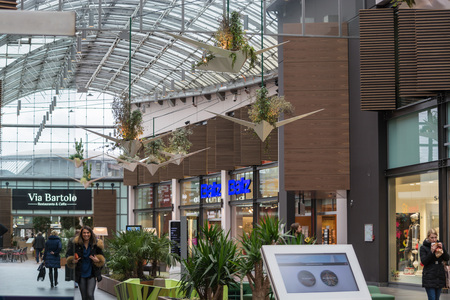 ruhr: Bochum, Nrw, Germany - January 11, 2016: Interior Shopping Mall of the Ruhr Park in Bochum. The shopping center Ruhr Park in Bochum is one of the largest in Germany.