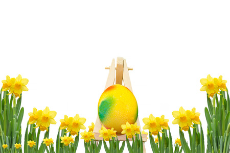 osterfest: Frame daffodils with easter egg on an easel in front of a white background. Stock Photo
