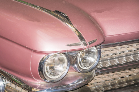 HOLDERS, NRW, GERMANY - FEBRUARY 1, 2016: Detail US Car of the 50s, headlight of a classic car at on exhibition. Editorial
