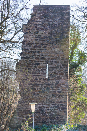 ruhr: Ruin and tower of the castle Luttelnau in Essen Kettwig on the Ruhr River. Stock Photo