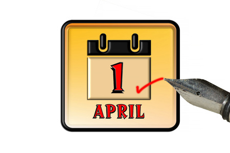 appointment book: Calendar concept series, it is the first of April, the day of the April Fool. Stock Photo