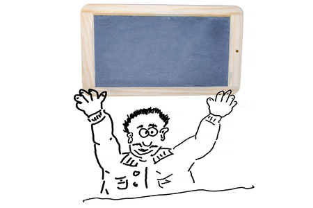 cheerfully: Hand drawing of an advertising character, cartoon character or line drawing. Cartoon character holding a School Chalkboard with wooden frame over his head. Stock Photo