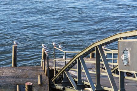 mooring bollards: Boat landing stage on the Rhine in Duesseldorf, Germany. Stock Photo