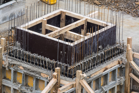 prefabricated buildings: Foundation building of steel and concrete for the construction of an apartment building with underground parking.