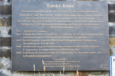 anno: BAD HONNEF, GERMANY - MARCH 27, 2016: Memorial plaque at the former school St Anno school brothers in Bad Honnef in Germany on the Rhine.