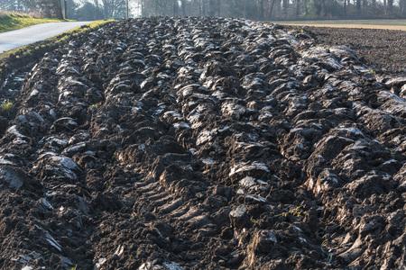 plowed field: Freshly plowed field, field in Germany.
