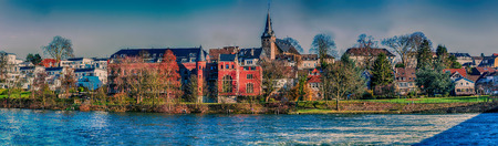 Artistic work of my own. HDR processing.Panorama and autumn idyll City of Essen Kettwig, Germany. Imagens