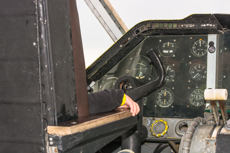 altimeter: Fun in the cockpit of an old propeller aircraft Stock Photo