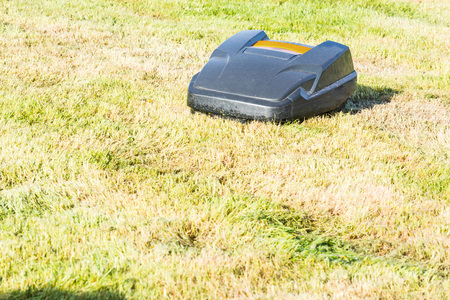 automatically: Lawnmower robot, automatic lawn mower that mows the lawn in a garden Stock Photo
