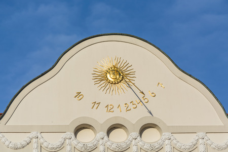 timepieces: Sundial clock in Essen-Kettwig on a house facade