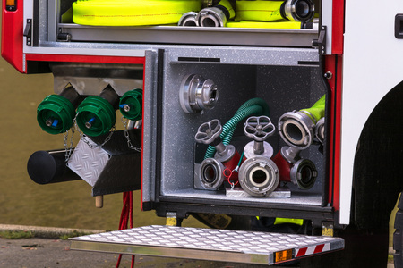 equipping: Constituents of a fire safety equipment in an erase groups Vehicle German Fire department. Stock Photo