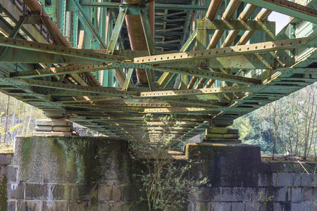 bridging: Railway bridge of steel for pedestrians and cyclists on the Ruhr in Essen Kupferdreh.