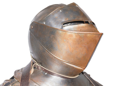 knight in armor: An antique European knight armor isolated against white background. Stock Photo