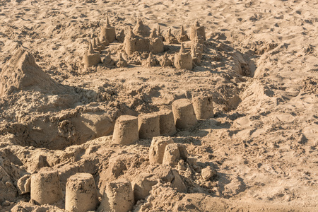 impermanent: Small sand castle on a beach in Spain