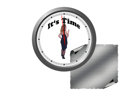 challenging sex: Watch with Pin Up Girl and caption Its Time. Stock Photo