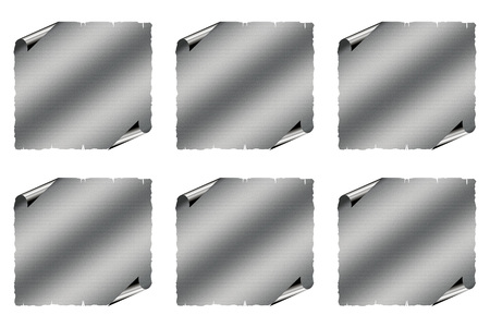 residual: Six gray striped sticky note with curled corners on white background. Stock Photo