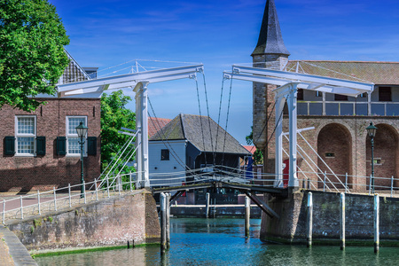 town idyll: Double Drawbridge in Netherlands Zierikzee. Entrance to the historic port town. Stock Photo