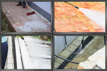 Workflow outside floor cleaning and building cleaning with high pressure water jet. The picture is divided into 4 sections Standard-Bild