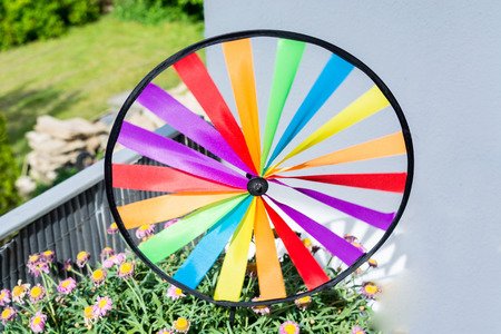 Colourful colorful pinwheel in a flowerpot. Stock Photo