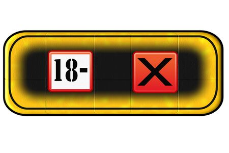 entrance is forbidden: Web Button for age restriction with symbol 18 Years - Stock Photo