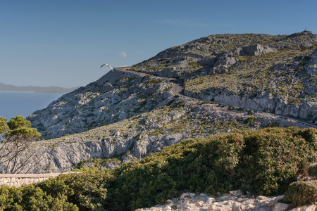 Serpentine road in the mountains. Mountain road on the west coast of Mallorca, Spain. Stock Photo
