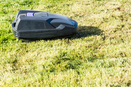 mows: Lawnmower robot, automatic lawn mower that mows the lawn in a garden Stock Photo