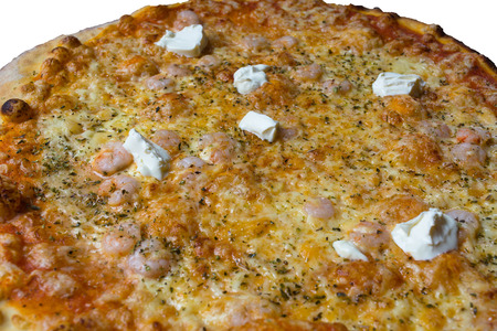 Pizza with shrimp cream fraiche, cheese, tomatoes and Pesto Sauce.