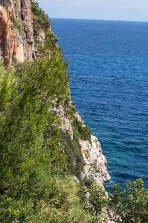 Sea waves and rocks on the steep west coast of Mallorca.