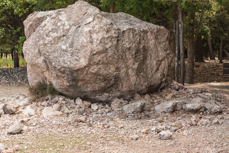 Large boulders, erratic boulder erosion originated in the Serra de Tramuntana in Mallorca.