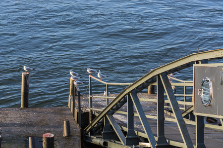 landing stage: Boat landing stage on the Rhine in Duesseldorf, Germany. Stock Photo