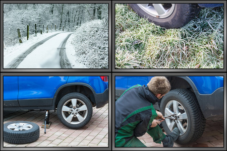 Workflow tire change. Summer tires dismantle winter tires mount. Image divided into 4 working steps. Stock Photo