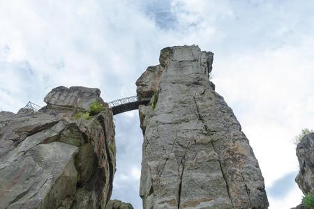 The Externsteine, striking sandstone rock formation in the Teutoburg Forest, Germany, North Rhine Westphalia