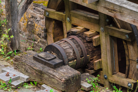 reconstituted: Reconstituted and restored mill wheel of an old water mill in Germany. Stock Photo