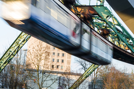 desired: Train the Wuppertal suspension railway, motion blur desired. Stock Photo