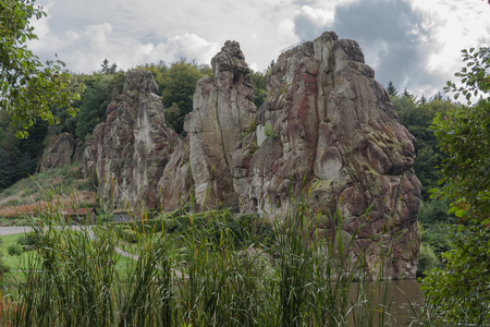 esotericism: The Externsteine, striking sandstone rock formation in the Teutoburg Forest, Germany, North Rhine Westphalia