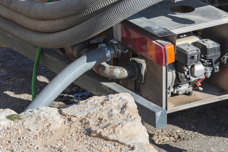 vices: Private water tanker truck for pure drinking water supply. Stock Photo