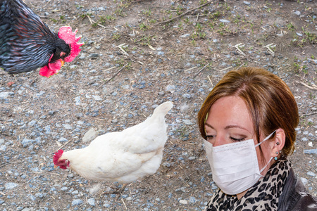 avian: Symbolically general prevention against infections. On the picture woman with mouthguard. Concept of avian flu, animal experiments, antibiotics and vaccinations.