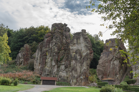 esoterismo: The Externsteine, striking sandstone rock formation in the Teutoburg Forest, Germany, North Rhine Westphalia