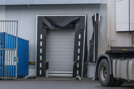 forwarding: Truck for unloading or loading at the depot of a forwarding company.