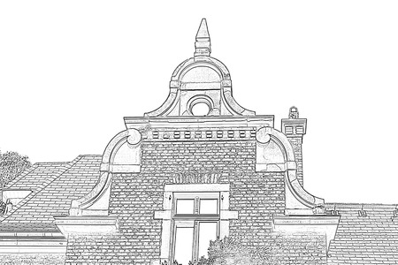 gable: Drawing gable view of an old villa from the start-up period with various historicizing styles.