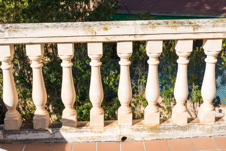 balustrades: Old balustrades on a balcony Stock Photo