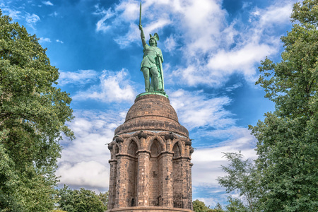 Statue of Cheruscan Arminius in the Teutoburg Forest near the city of Detmold, Germany.