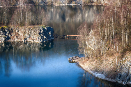 Panoramic view of an old open opencast mine of limestone works in WÃ�� � Ã, �,¼lfrath, Germany on a winter day.