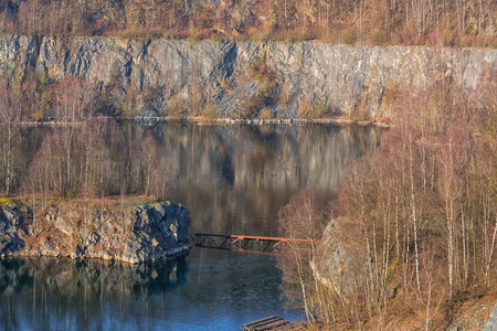Panoramic view of an old open opencast mine of limestone works in Wülfrath, Germany on a winter day.
