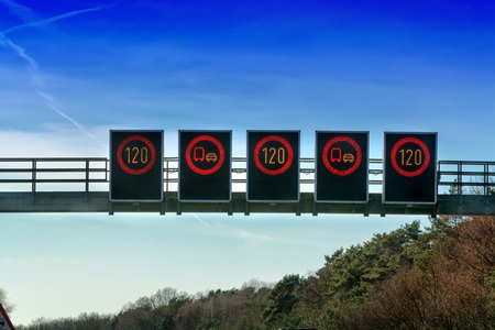 stop and go light: Signage, signage bridge over the motorway A 2 direction Dortmund in Germany. Stock Photo