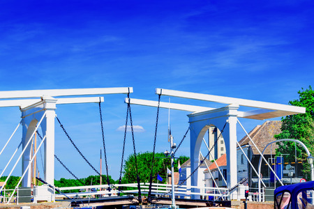 Double Drawbridge in Netherlands Zierikzee. Entrance to the historic port town. Stock Photo