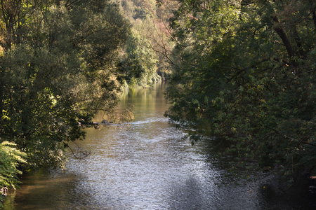 Beautiful view on the calm river Wupper, Germany, NRW.