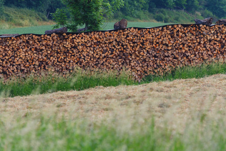 Beautifully stacked firewood stock for winter on a large meadow in the countryside.