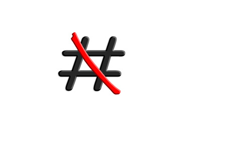 Sign Hashtag # red crossed out on white background. Stock Photo