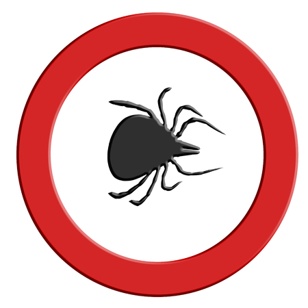 Borreliose and tick warning, round red warning sign with tick symbol.